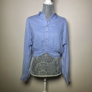 NWT Free People Blue Button Up Crop Top